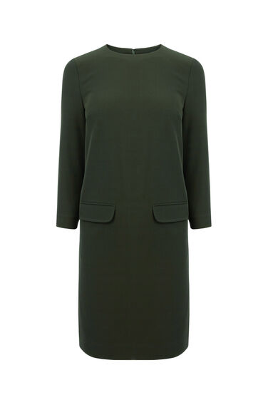 Warehouse, POCKET FRONT SHIFT DRESS Dark Green 0