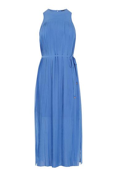 Warehouse, MICRO PLEAT MIDI DRESS Light Blue 0