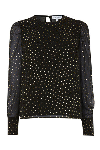 Warehouse, GOLD GLITTER PUFF SLEEVE TOP Black Pattern 0