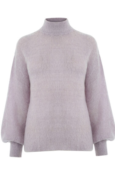 Warehouse, BLOUSON SLEEVE MOHAIR JUMPER Light Purple 0