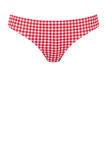Warehouse, GINGHAM BIKINI BOTTOM Red Pattern 0