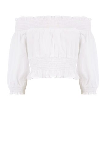 Warehouse, RUCHED BARDOT TOP White 0