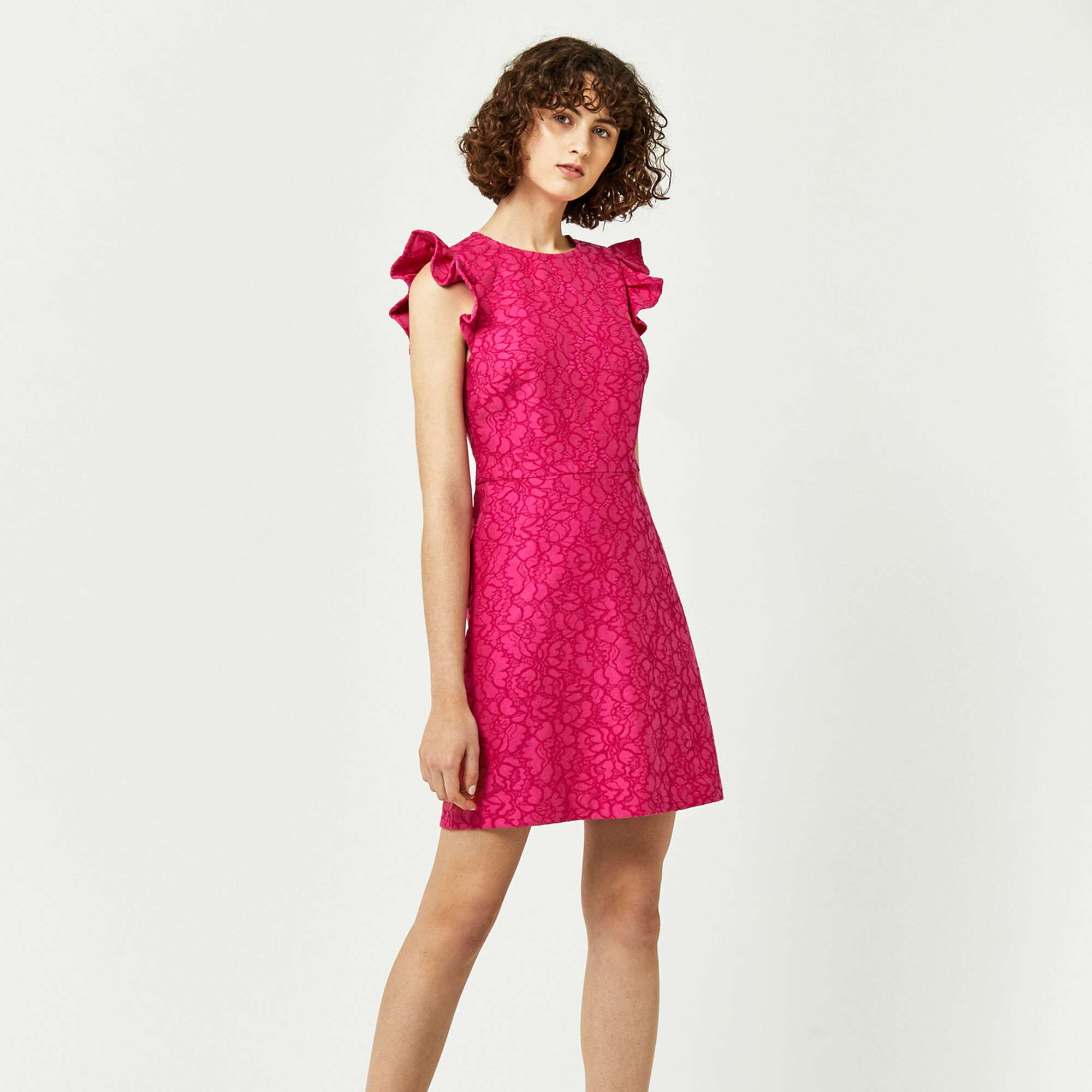Warehouse, FRILL SLEEVE BONDED LACE DRESS Bright Pink 1