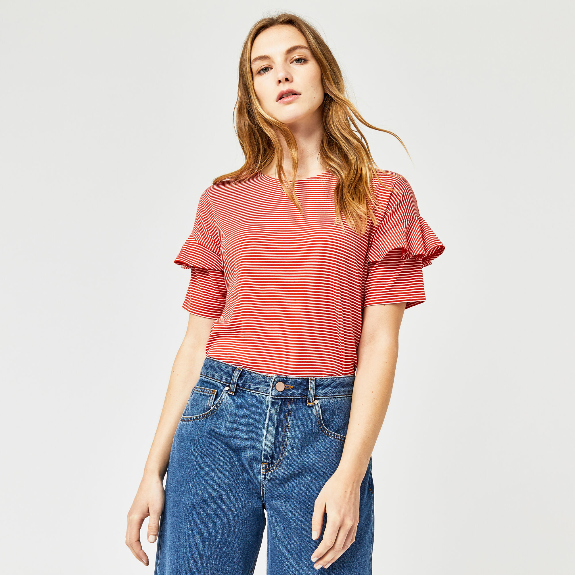 Warehouse, STRIPE FRILL SLEEVE TEE Red Stripe 1