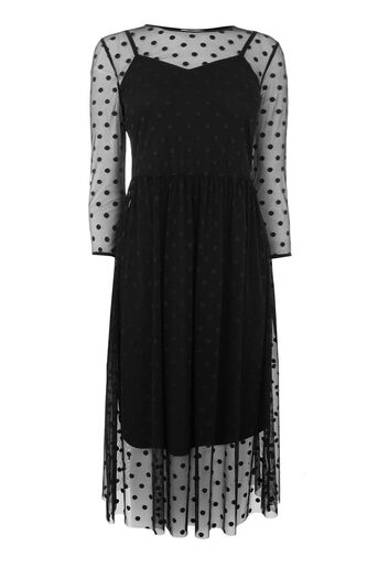 Warehouse, FLOCK SPOT MESH DRESS Black 0