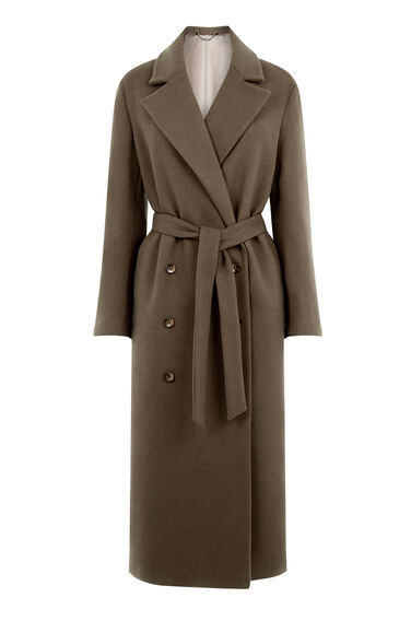 Warehouse, PREMIUM LONGLINE BELTED COAT Dark Green 0