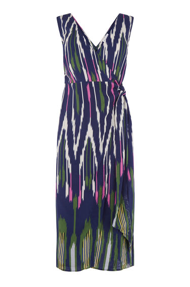 Warehouse, RAINBOW IKAT TIE FRONT DRESS Navy 0