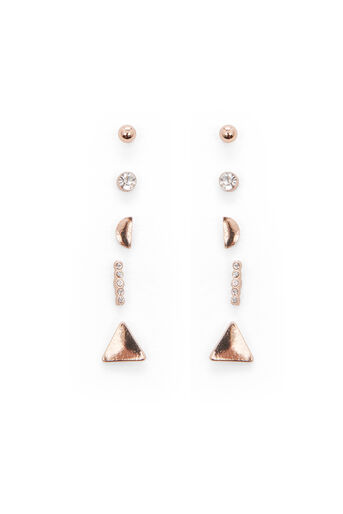 Warehouse, TRIANGLE MIX EARRING 5 PACK Rose Gold 0