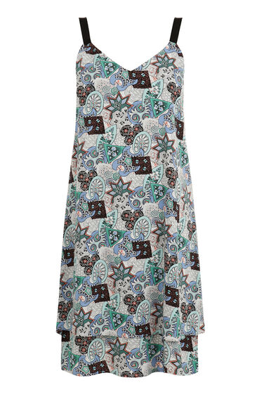 Warehouse, Tile Print Cami Dress Neutral  Print 0