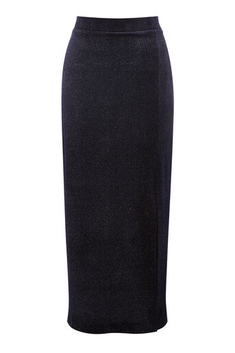 Warehouse, GLITTER VELVET SKIRT Navy 0