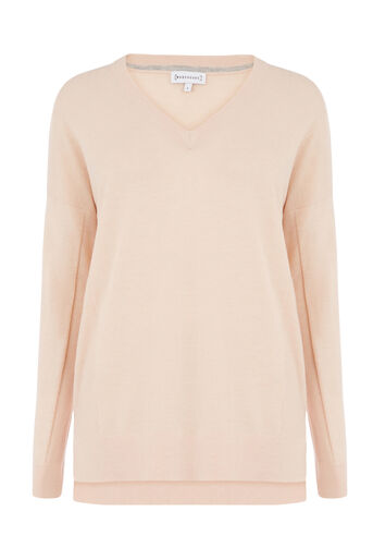 Warehouse, V NECK LONG LINE JUMPER Light Pink 0