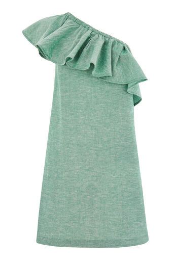 Warehouse, RUFFLE ONE SHOULDER DRESS Dark Green 0
