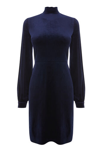 Warehouse, VELVET TIE BACK DRESS Navy 0