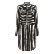 Warehouse, TORN STRIPE SHIRT DRESS Black Stripe 0