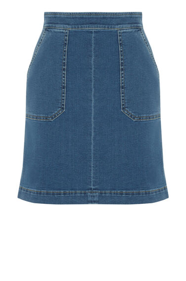 Warehouse, Pocket Detail Denim Skirt Light Wash Denim 0