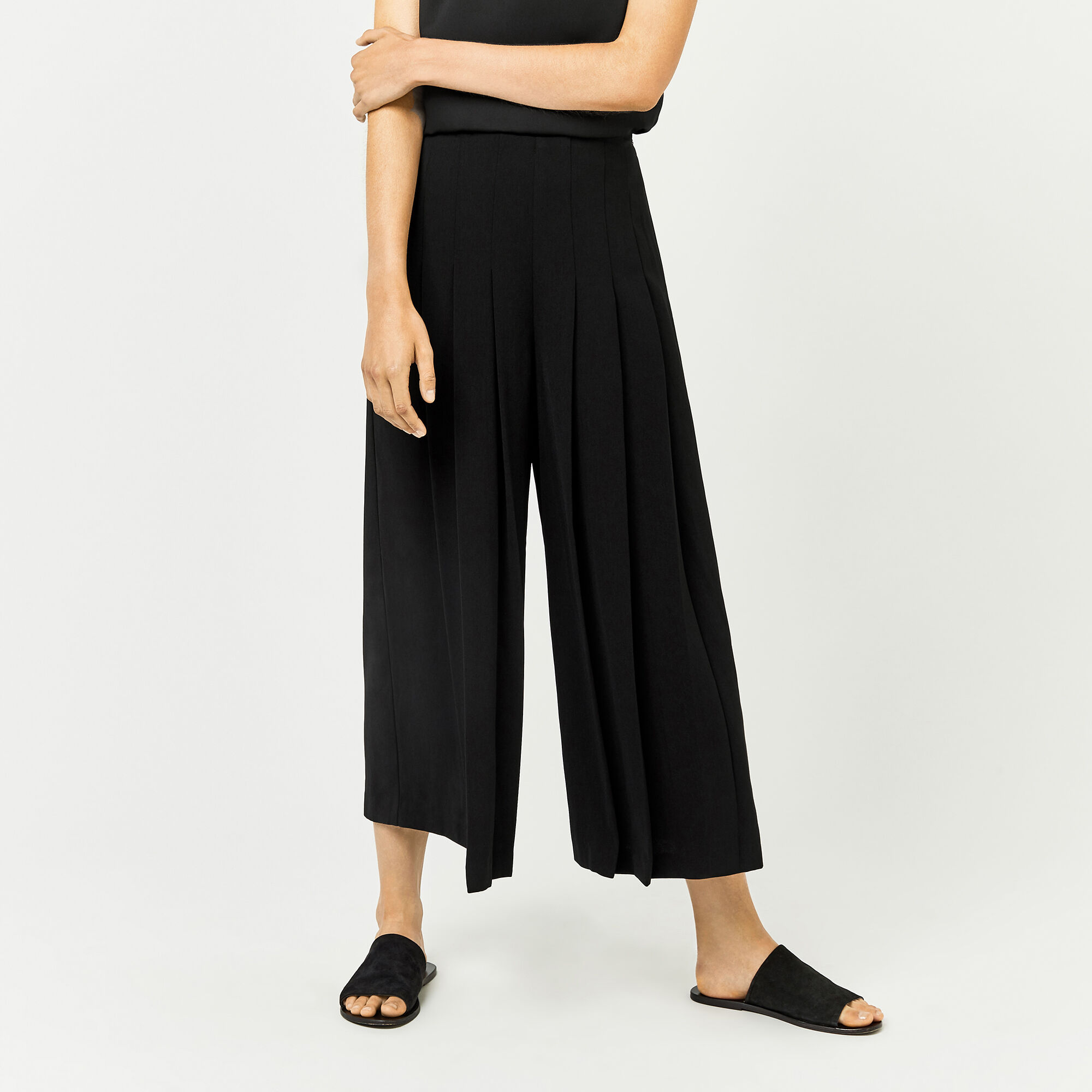 Warehouse, PLEATED CULOTTES Black 1