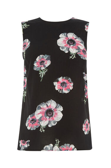 Warehouse, OCEAN FLORAL TIE BACK TOP Black Pattern 0