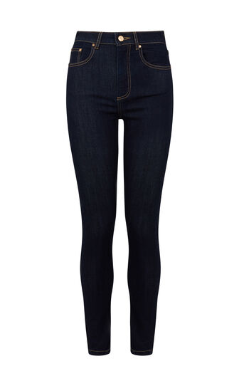 Warehouse, HIGH RISE SKINNY CUT JEAN Dark Wash Denim 0