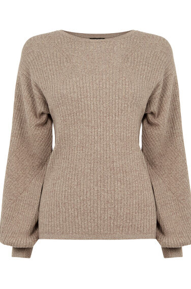 Warehouse, BALLOON SLEEVE RIB JUMPER Brown 0