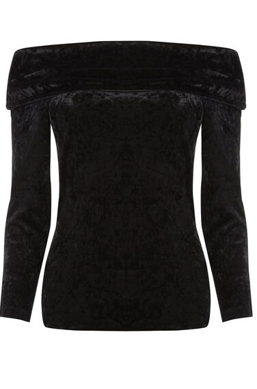 Warehouse, CRUSHED VELVET BARDOT TOP Black 1