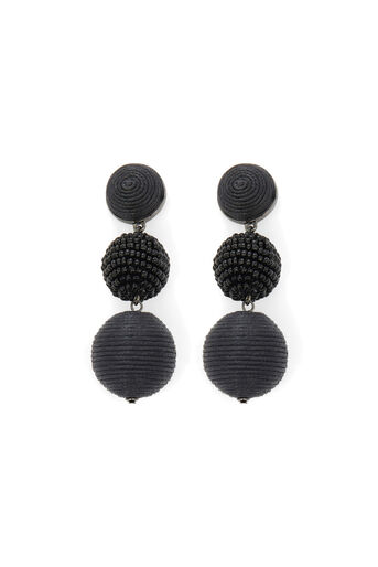 Warehouse, TRIPLE ORB DROP EARRINGS Black 0