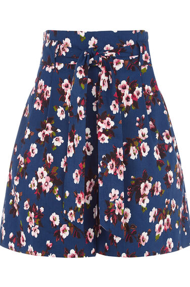 Warehouse, MAE FLORAL COTTON SHORTS Blue Pattern 0