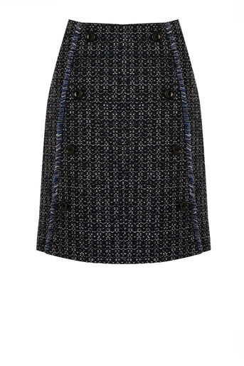 Warehouse, BUTTON FRONT TWEED SKIRT Blue Pattern 0