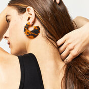 Warehouse, DISC EARRINGS Brown Print 1