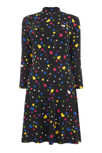 Warehouse, HEART PRINT TIE BACK DRESS Black Pattern 0