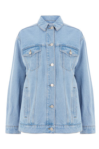Warehouse, Long Denim Jacket Light Wash Denim 0