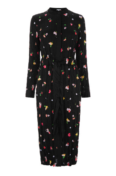 Warehouse, WOODSTOCK CRINKLE SHIRT DRESS Black Pattern 0