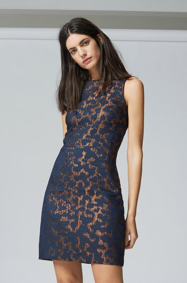 Warehouse, CAMO ANIMAL JACQUARD DRESS Navy 1