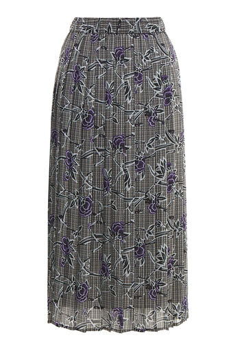 Warehouse, ORIENTAL ROSE PLEATED SKIRT Grey Pattern 0