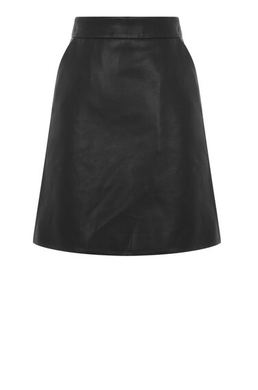 Warehouse, Faux Leather Pelmet Skirt Black 0