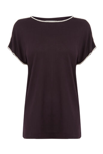 Warehouse, DIAMANTE TRIM TOP Berry 0