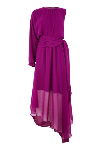 Warehouse, ONE SLEEVE DRESS Bright Purple 0