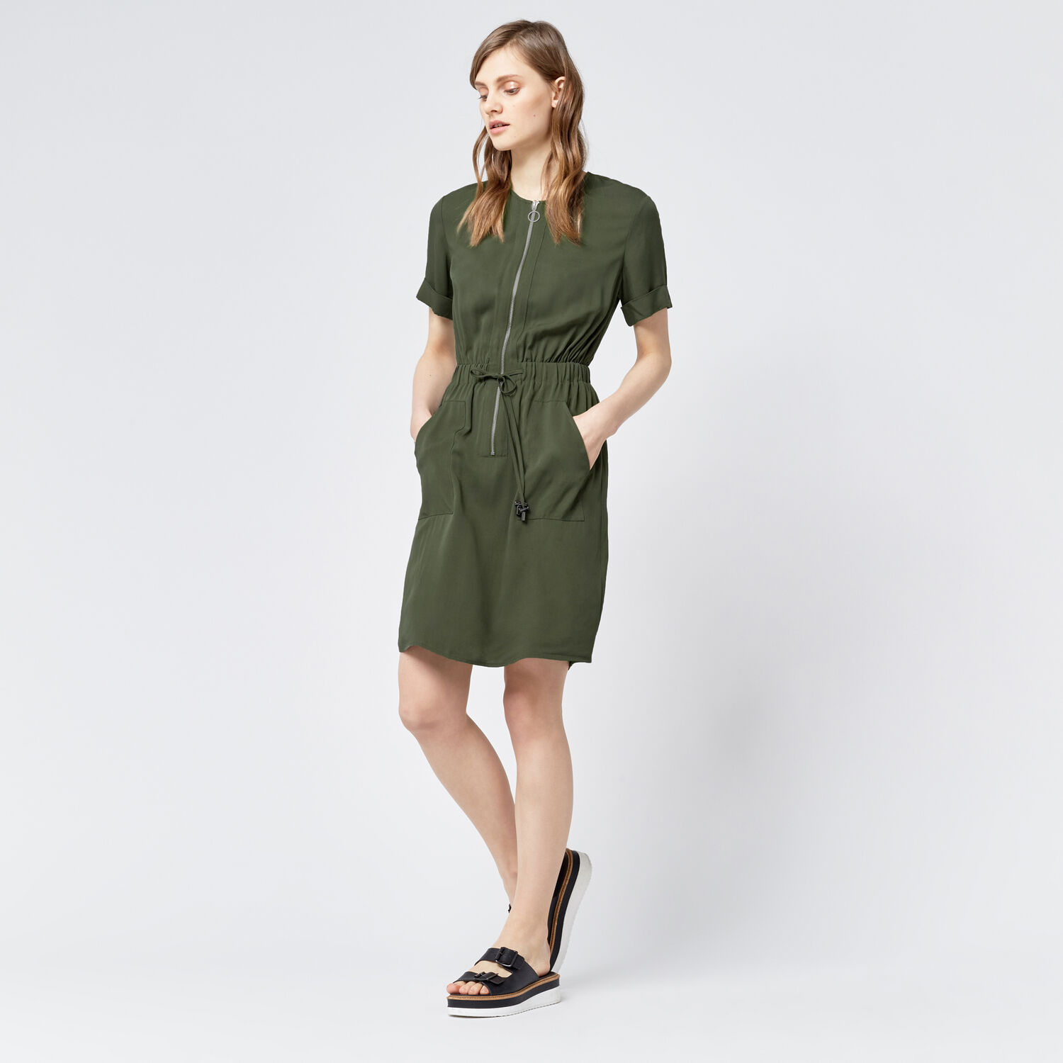 Warehouse, CASUAL UTILITY DRESS Khaki 1