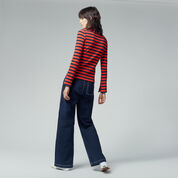Warehouse, STRIPE RIB TOP Red Stripe 3