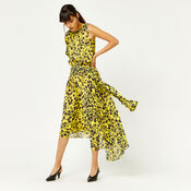 Warehouse, KYOTO FLORAL ONE SLEEVE DRESS Yellow 2