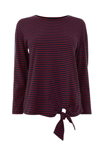 Warehouse, STRIPE LONG SLEEVE TIE TOP Red Stripe 0