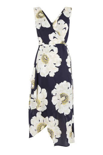 Warehouse, MELODY FLORAL MIDI DRESS Blue Pattern 0