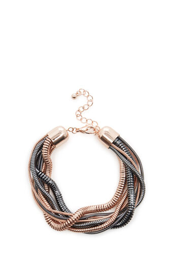 Warehouse, SNAKE CHAIN TWIST BRACELET Copper Colour 0