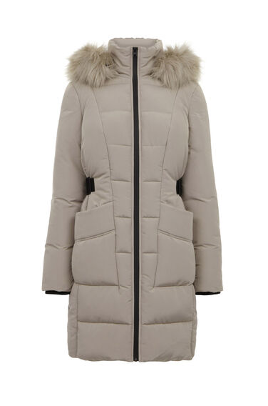 Warehouse, Side Tab Detail Padded Coat Mink 0