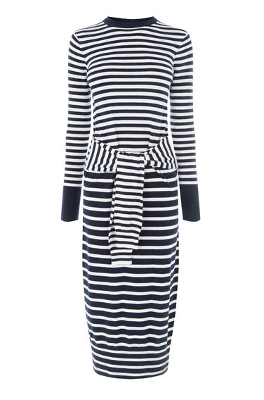 Warehouse, STRIPE TIE WAIST DRESS Navy 0
