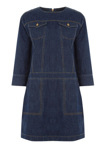 Warehouse, Pocket Denim Shift Dress Mid Wash Denim 0
