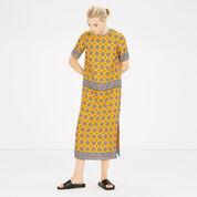 Warehouse, TILE PRINT COLUMN MIDI DRESS Mustard 2