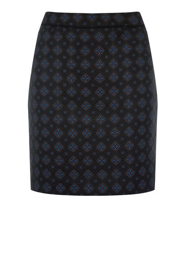 Warehouse, TILE JACQUARD SKIRT Navy 0