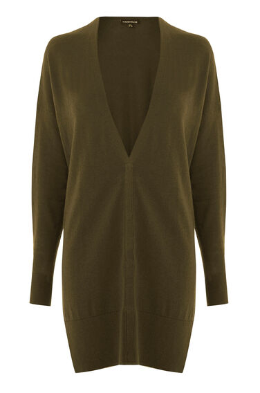 Warehouse, Drawstring Back Cardi Khaki 0