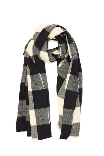 Warehouse, TONAL CHECK SCARF Black Pattern 0
