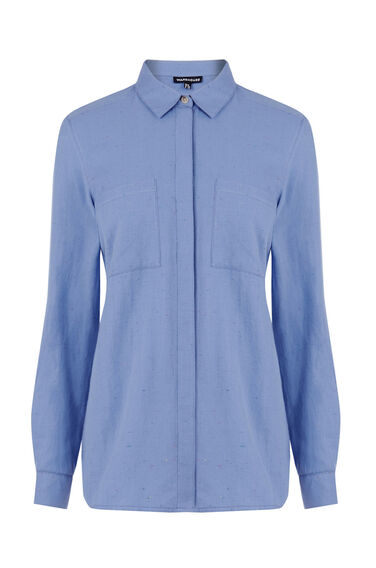 Warehouse, RELAXED NEPPY SHIRT Bright Blue 0